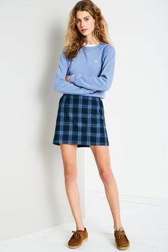 MINTERNE CHECK A LINE SKIRT NAVY/BLUE