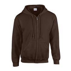 Gildan Hooded Sweatshirt Heavyweight Full Zip Brown dark chocolate Size:S: Amazon.de: Sport & Freizeit