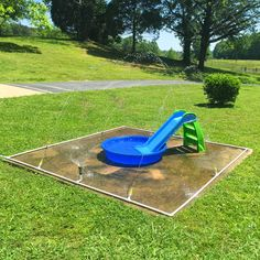 Exterior: Awesome Home Kid Friendly Backyard Design With Large Green Grass Field And Kids Playground Featuring Small Slider And Plastic Pools With Water Fountain Set Ideas of Kid Trampoline Ideas Dog Backyard, Backyard Playground, Small Backyard Landscaping, Backyard For Kids, Playground Ideas, Backyard Ideas, Kids Yard, Playground Design, Modern Backyard