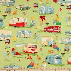 Amazon.com: Michael Miller Trailer Travel Camp Multi Fabric
