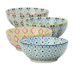 Signature Housewares Printed 8Inch Microwave Storage Bowls Set of 4 * Click for Special Deals  #MixingBowls