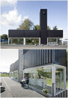 LOVE the vertical container. 19 Marvelous Structures That Prove Shipping Containers Are Just LEGO For Architects Shipping Container Buildings, Shipping Container Design, Cargo Container Homes, Container Office, Container Shop, Container House Plans, Container House Design, Shipping Containers, Container Conversions