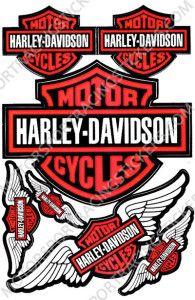ORANGE HARLEY DAVIDSON EAGLE WING MOTOR CYCLES DECAL STICKER SHEET FOR HELMET DIRT BIG BIKE ATV CAR BUMPER RACING KIT