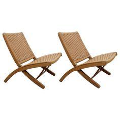 Image of Hans Wegner Style Danish Cord Folding Chairs - S/2