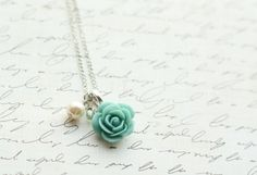Hey, I found this really awesome Etsy listing at https://www.etsy.com/listing/66512708/turquoise-rose-necklace-aqua-rose