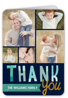 Thank You Cards: Painted Collage,  Card, Rounded Corners, Blue