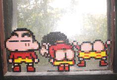 Shin Chan Bead Sprites by WarholaStJames on DeviantArt Melty Bead Patterns, Beading Patterns, Paper Beads Tutorial, Kawaii Cross Stitch, Unicorn Cross Stitch Pattern, Pixel Beads, 8bit Art, Nerd Crafts, Anime Pixel Art