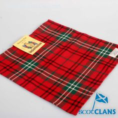 Morrison Red Tartan Pocket Square. Free worldwide shipping available