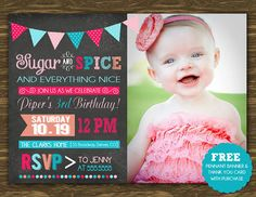 Sugar and Spice Birthday Invitation - Printable - FREE pennant banner and thank you card with purchase