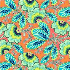 amy butler lark glamour floral couture mandarin orange, all the colors I want for the dining, $9/yd.