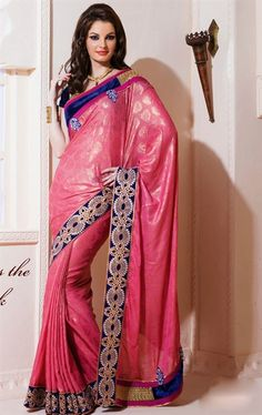 Picture of Contemporary Deep Rose Pink Crepe Indian Saree