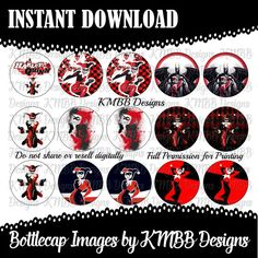 INSTANT DOWNLOAD  Harley Quinn Batman  1 bottle cap by KMBBDesigns