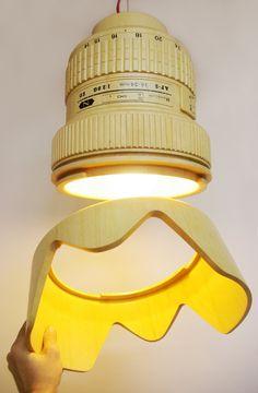 DSRL Paparazzi lamp, Reflex lens Lamp, Pendant lamp. €500.00, via Etsy.