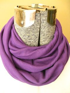 Solid Purple Jersey Knit Infinity Scarf-  free shipping #bestofEtsy #etsyretwt