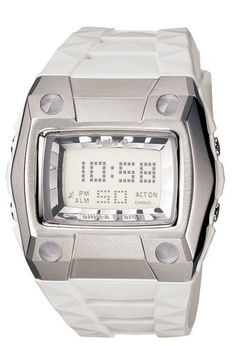 Casio Women's BG2101-7 Baby-G Sweet Poison Dance Watch Casio. $78.00. Water-resistant to 330 feet (100 M). Case diameter: 35 mm. Protective Mineral crystal protects watch from scratches. Reliable Analog-digital movement. Resin case; White dial; Day-date-and-month functions. Save 12% Off!