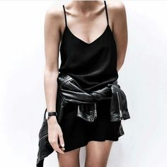 black slip dress and a pop of leather