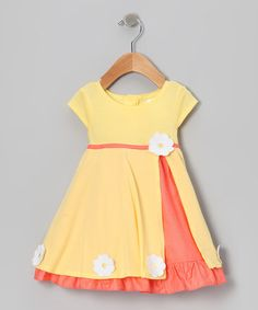 {Yellow Pink Daisy Dress Bloomers - Infant by Gidget Loves Milo} Cotton dresses are the best. This looks so comfy. Little Dresses, Little Girl Dresses, Cute Dresses, Girls Dresses, Cotton Dresses, Toddler Dress, Toddler Outfits, Baby Dress, Kids Outfits