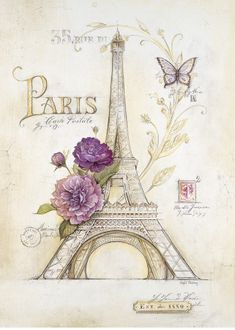 Possibly for craft room storage center's doors...? Eiffel Tower Roses Art Print
