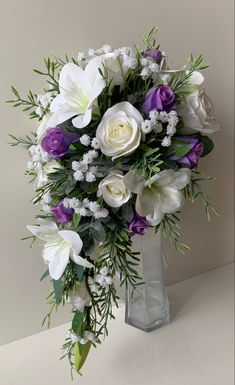 White lily roses mauve gyp teadrop bouquet Purple Wedding Bouquets, Flower Bouquet Wedding, Bridal Bouquets, White Lilies, Mauve, Floral Wreath, Roses, Lily, Wreaths