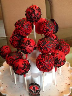 Red and Black cake pops LiVay Sweet Shop Samurai Power Ranger Power Ranger Cupcakes, Power Ranger Cake, 4th Birthday, Birthday Cakes, Buttercream Icing, Cakes For Boys, Freshly Baked, Fondant Cakes, Custom Cakes