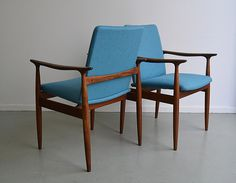 tangerineandtealPair of Australian made Parker furniture chairs, restored and reupholstered in a blue wool 60s Furniture, Danish Furniture, Mid Century Modern Furniture, Furniture Design, White Walls, Teak, Mid-century Modern, Beckingham Palace, Carver Chairs