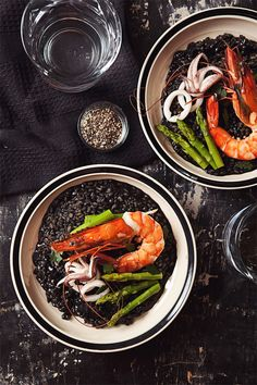 Squid Ink Risotto  Squid ink may be one of nature's blackest creations. Halloween is the perfect time to utilize it.