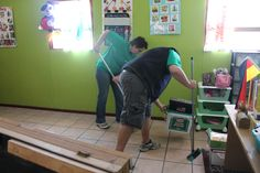 Our team hard at work cleaning up.
