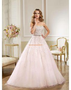 RONALD JOYCE A-Linie Luxuriöse Brautkleider aus Softnetz mit Perlenstickerei
