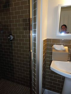 Brown Subway Tile In Bathroom