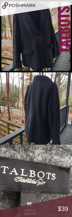 "Talbots Wool jacket Very very cool unconstructed 80% wool jacket. Great layering, casual piece. Wide lapel, 2 button closure, 2 slit pockets, with Flap, that are still down shut. EUC. Center back vent. Length 24"", sleeve 20.5"", chest 22.5"". Bundle to save 15%. Talbots Jackets & Coats Blazers"