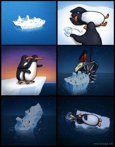 Los pingüinos tienen su propia versión de Titanic.