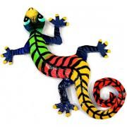 Eight Inch Striped Metal Gecko