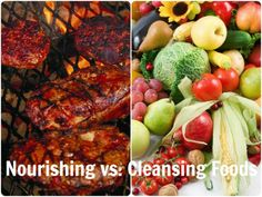 Nourishing vs. Cleansing Foods with text