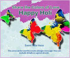 Holi Butterflies   Holi Invitation, e-Card greeting   EventEve.com