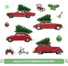 Christmas Car Tree Clipart, Xmas Car Tree Graphic, Holiday Cars Image, Ornament Bell Scrapbook, Festive Toy Wagon Picture, Digital Download