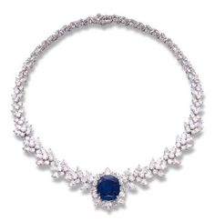 A SAPPHIRE AND DIAMOND NECKLACE, BY ASPREY