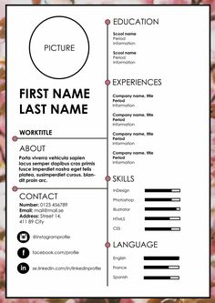 Resume / CV If you like this cv template. Check others on my CV template board :) Thanks for sharing! Creative Cv Template, Resume Design Template, Resume Template Free, Creative Resume, Design Resume, Cv Template Student, Simple Resume, Templates Free, Resume Tips