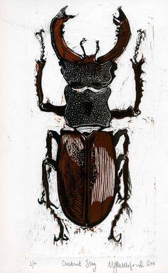 Chestnut Stag Beetle Lino linocut original print in black and chestnut brown