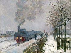 Claude Monet , Tren en la nieve, la locomotora, 1875. Óleo sobre lienzo, 59 × 78 cm Musée Marmottan Monet, París   Amantes del Arte