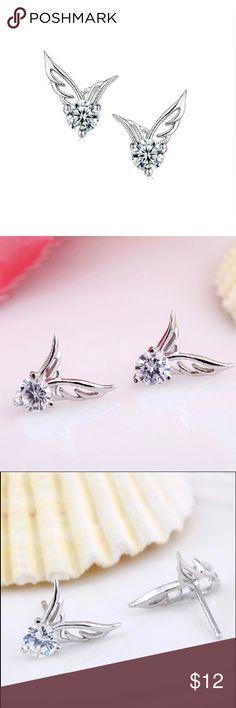A New Sterling Silver Angel Wing Earrings A New Sterling Silver Angel Wing Earrings Jewelry Earrings