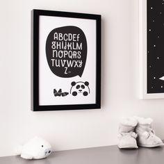 Panda Alphabet Monochrome Print