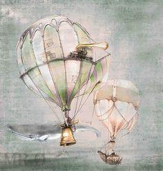 Steampunk Art PRINT montgolfière: baleine par theFiligree sur Etsy