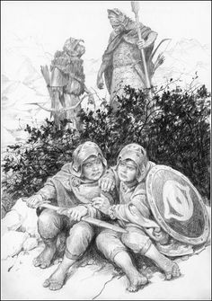 "FRODO AND SAM IN MORDOR BY DENIS GORDEEV. GANDALF: ""Sauron's wrath will be terrible, his retribution swift. The battle for Helm's Deep is over. The battle for Middle-Earth is about to begin. All our hopes now lie with two little hobbits. Somewhere in the wilderness."""