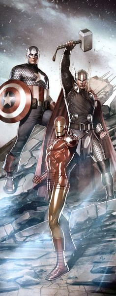 Captain America, Thor and Iron Man. Cool threesome, but it'd be nice to see a woman in there too. http://johnpirilloauthor.blogspot.com/