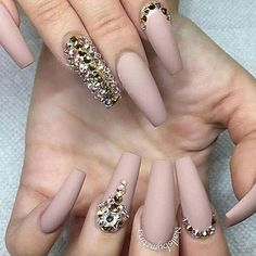 @downtownvirgo #nails #jewelednails #buffnails #nudenails #diamondnails
