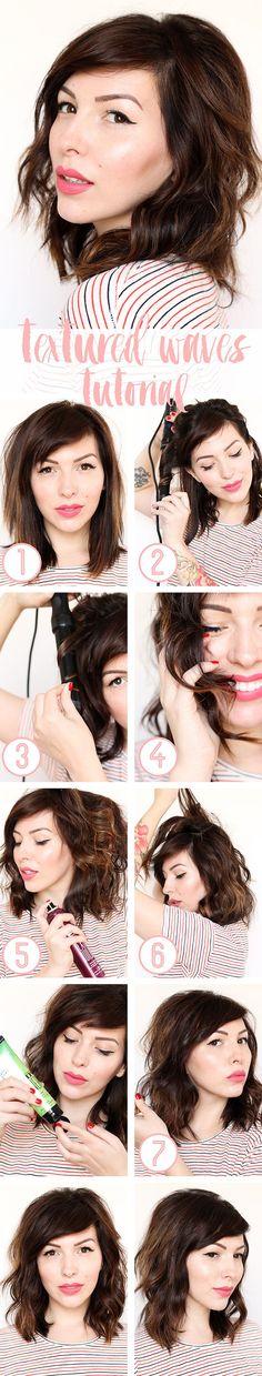 Textured Waves Hair Tutorial for medium length hair - Keiko Lynn