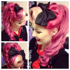 Pinup Hair - Diablo Rose - İnteresting Hair İdeas Here Rockabilly Pin Up, Rockabilly Makeup, 50s Makeup, Crazy Makeup, Makeup Geek, Makeup Art, Square Face Hairstyles, Retro Hairstyles, Wedding Hairstyles