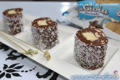 Il finto sushi al cioccolato è un'idea finger food per il buffet una festa di compleanno; è stato preparato utilizzando un prodotto della Freddi dolciaria.