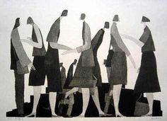 [Art Work / Japanese Prints] Aoki,Tetsuo [ Chattering ] ed.30, 2003, image size:41(cm)x56(cm), woodblock