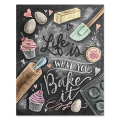 Kitchen Decor - Kitchen Chalkboard Art - Gift for the Baker - Baking Art - Kitchen Art - Illustration Print - For the Bakery - Bakery Art - Cute chalkboard art print for a Shabby Chic kitchen! Deco Panel, Lily And Val, Baking Quotes, Baking Puns, Kitchen Prints, Kitchen Artwork, Blackboards, Shabby Chic Furniture, Shabby Chic Art